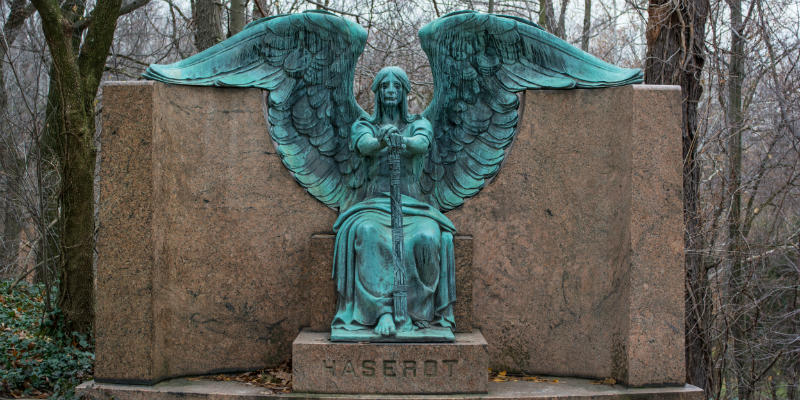 Bronze angel of death figure on Haserot family tomb