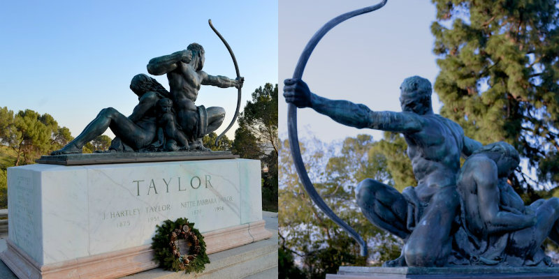 Taylor monument with archer sculpture