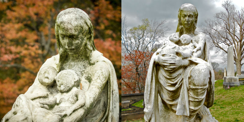 Mother and twins gravestone memorial at Laurel Hill