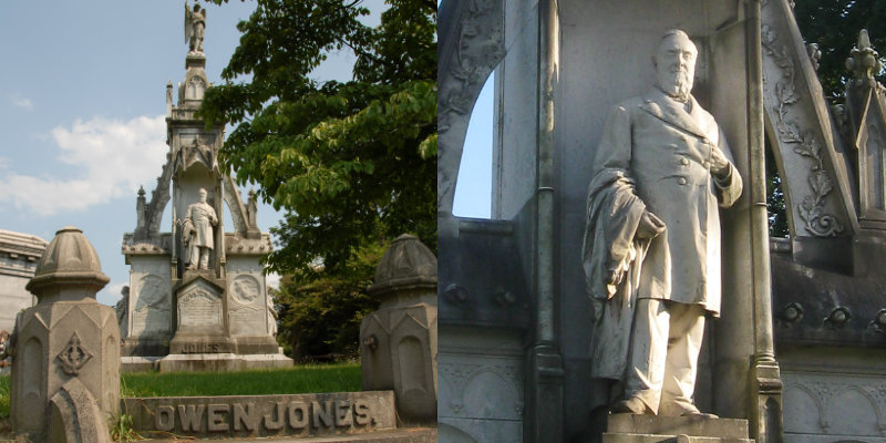 Gothic Revival style monument to Owen Jones