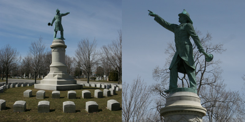 The volunteer firemen memorial in Forest Lawn Cemetery