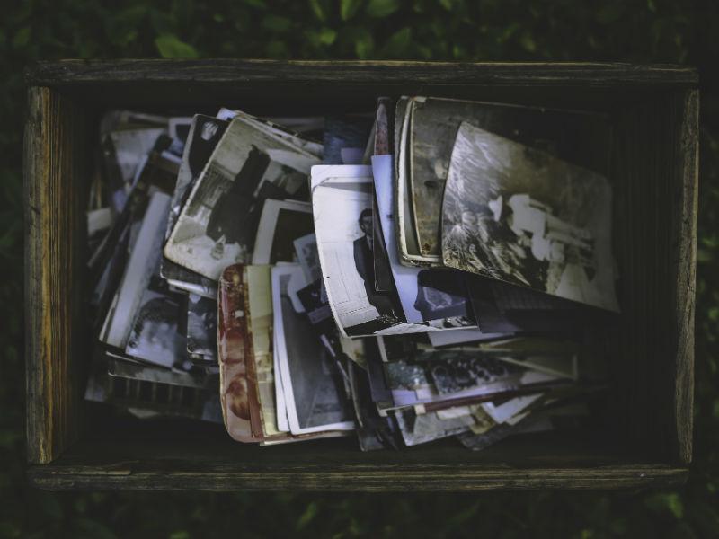 Box of family photos, a type of memorial