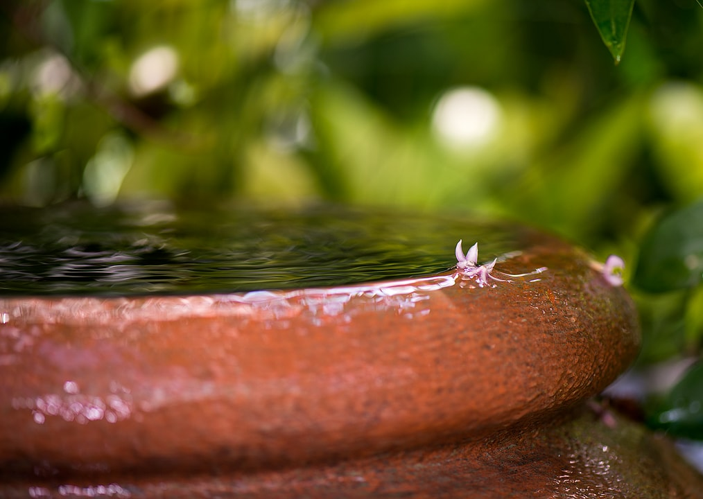 Water gently spills over the brim of an earthernware garden feature