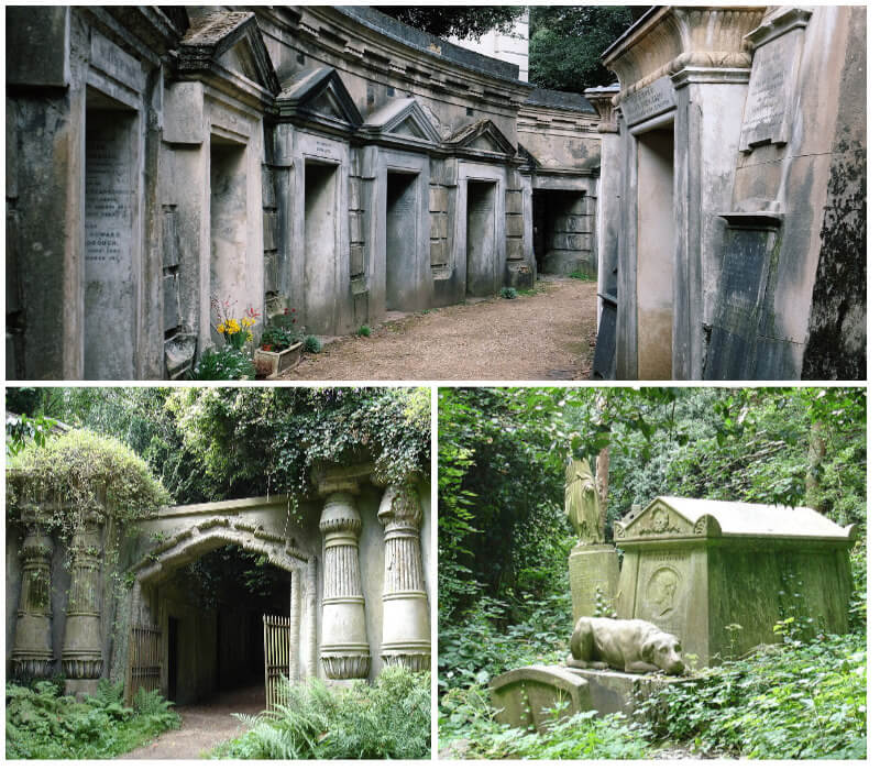 The Circle of Lebanon and Egyptian Avenue at Highgate Cemetery