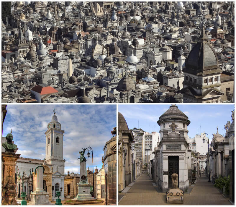 Hundreds of graves and mausoleums at La Recoleta Cemetery