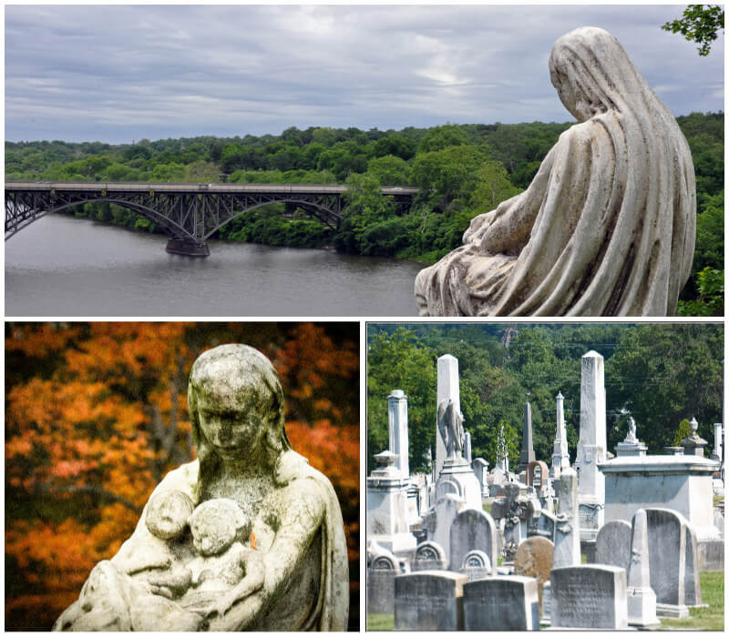 The Mother and Twins monument overlooking the river in Laurel Hill Cemetery