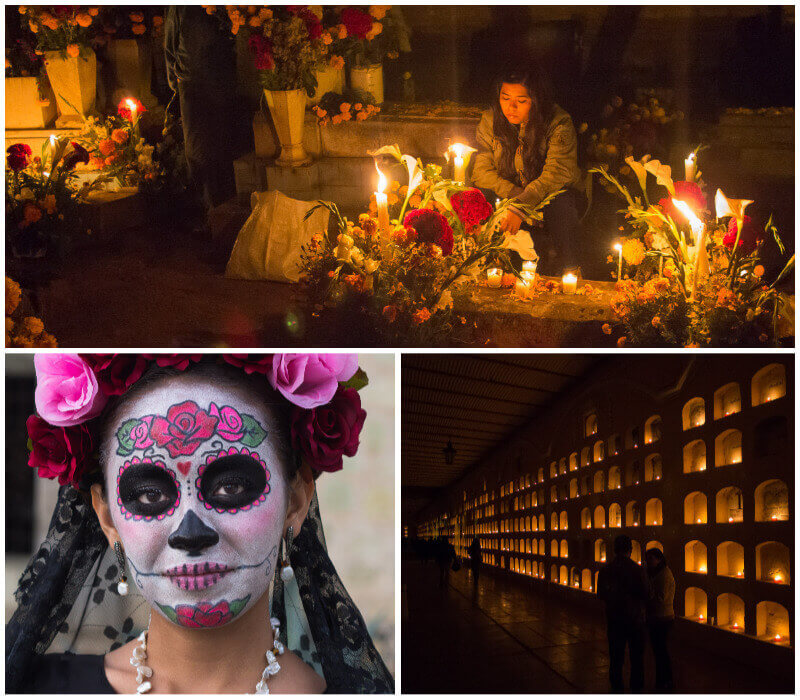 Candles and flowers on graves in Oaxaca cemetery and a woman with traditional Dia de los Muertos facepaint