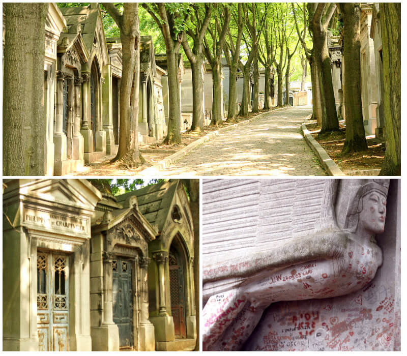 The Gothic mausoleums and Oscar Wilde's grave at the cemetery in Paris