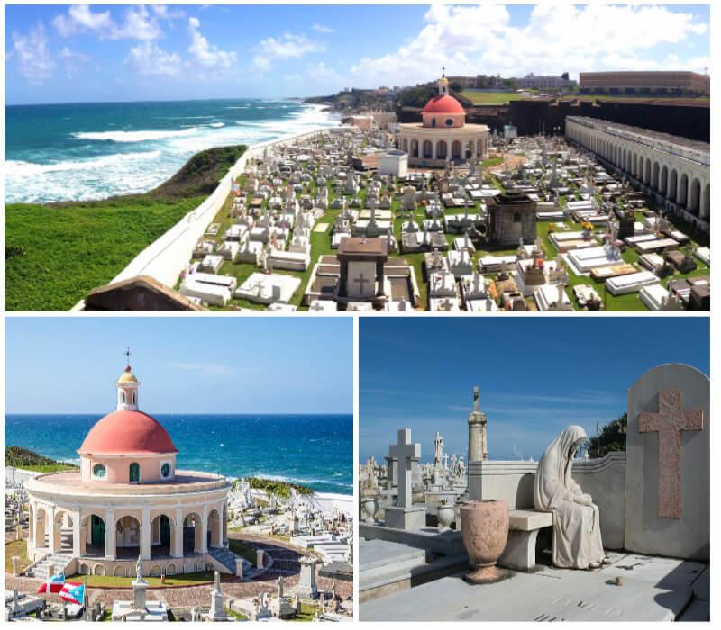 Views of the ocean from Santa María cemetery in Puerto Rico