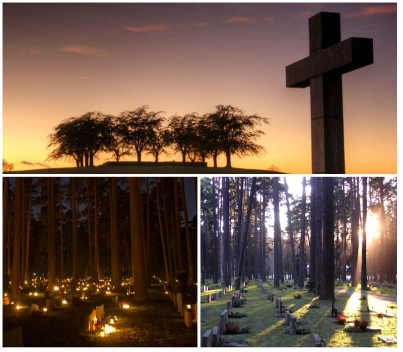A granite crucifix monument on the hill at Skogskyrkogården and gravestones in the forest