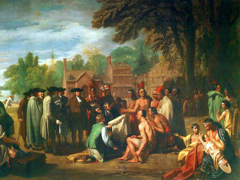 Painting showing European settlers trading with Native Americans