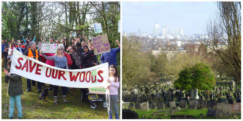Campaigners protesting at Camberwell Old Cemetery