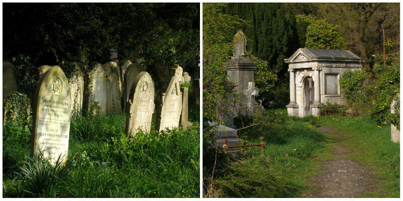Headstones and mausoleum at Southampton Old Cemetery