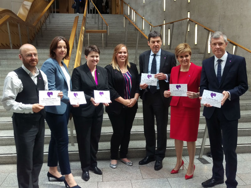 Nicole with Scottish MPs at the Our Misdsing Peace launch