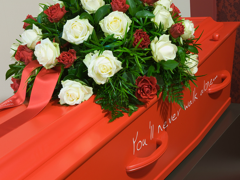 Coffin in Liverpool Football Club colours