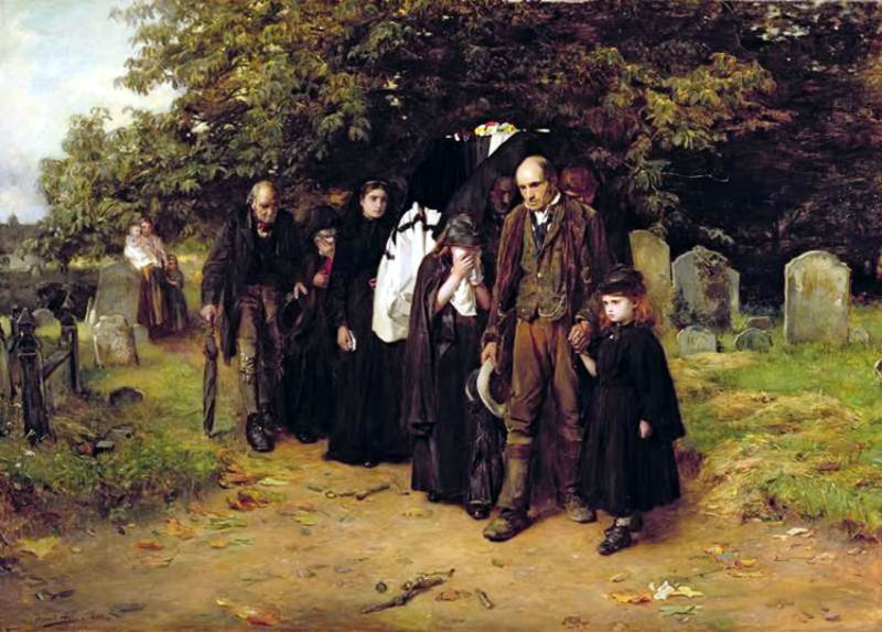 A painting of some Victorian mourners