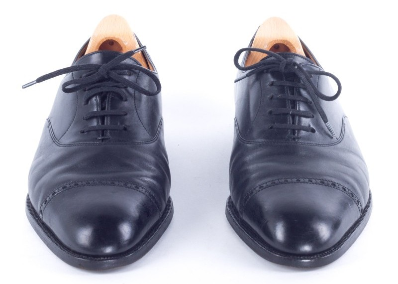 Close up of Black Oxford shoes