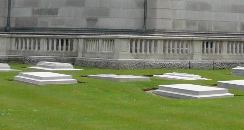 View of Princess Louis's grave in the Royal Burial ground, with other ledger memorials in shot