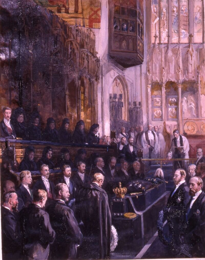Illustration of the funeral of George v of Hanover in St. George's Chapel