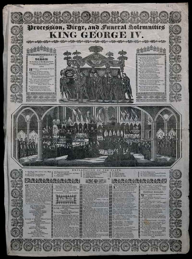 Copy of newspaper from 1830 describing the funeral of George IV, with reference to the royal vault