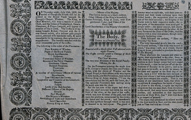 Close-up of panel in 19th century broadsheet newspaper describing the funeral of George IV in St. George's Chapel and lowering of his coffin into the Royal Vault