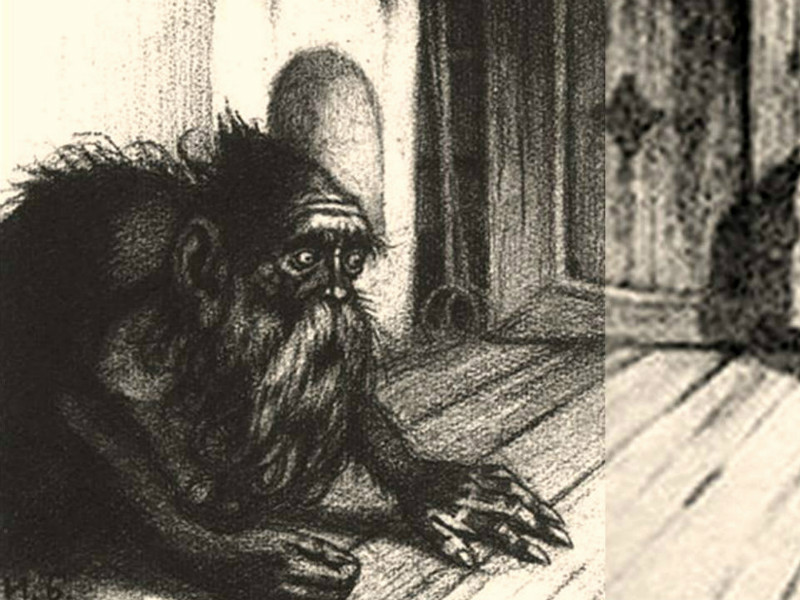 Black and white drawing of a domovoi, a small hairy goblin-like creature from Russian folklore