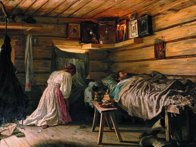 A painting of a woman praying at her household icon corner, while her husband lies sick in bed