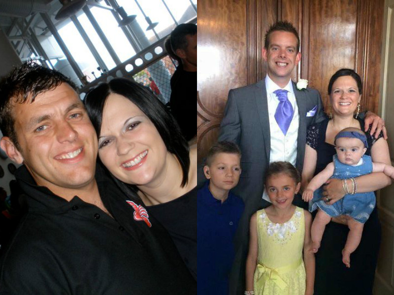 Two photos showing Le and Nikki Scott together and Nikki with new husband Joe and theur daughter Tilly, Kai, and Brooke