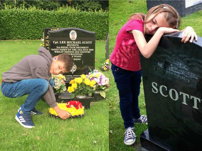 A montage of two photos showing Lee Scott's children Kai and Brooke visiting his grave