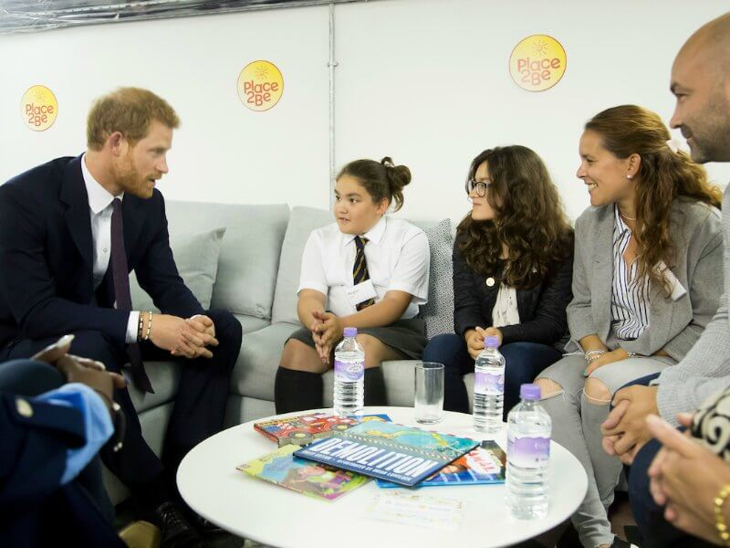 Prince Harry talking to survivors of the Grenfell Tower fire at the Support 4 Grenfell Community Hub