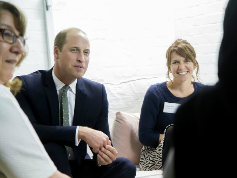 Prince William talking to charity representatives at the Support 4 Grenfell Community Hub