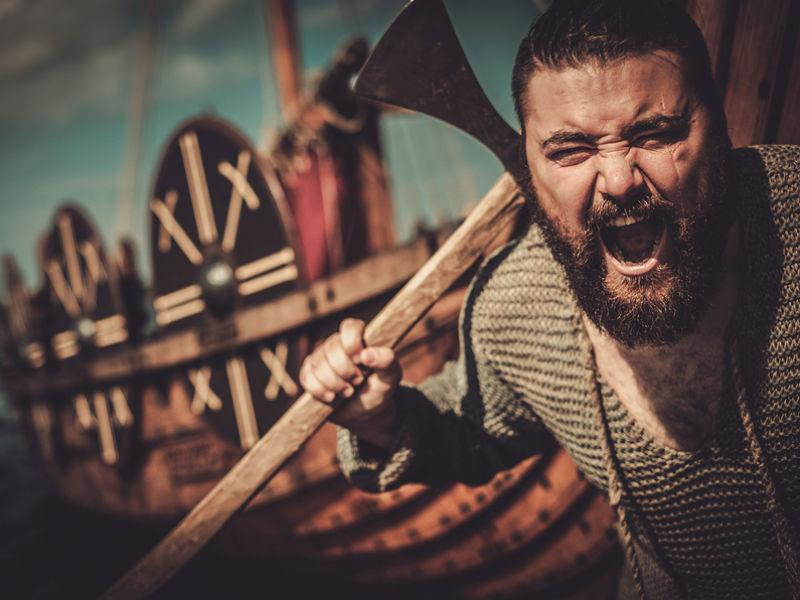 A Viking ship and fearsome Viking warrior