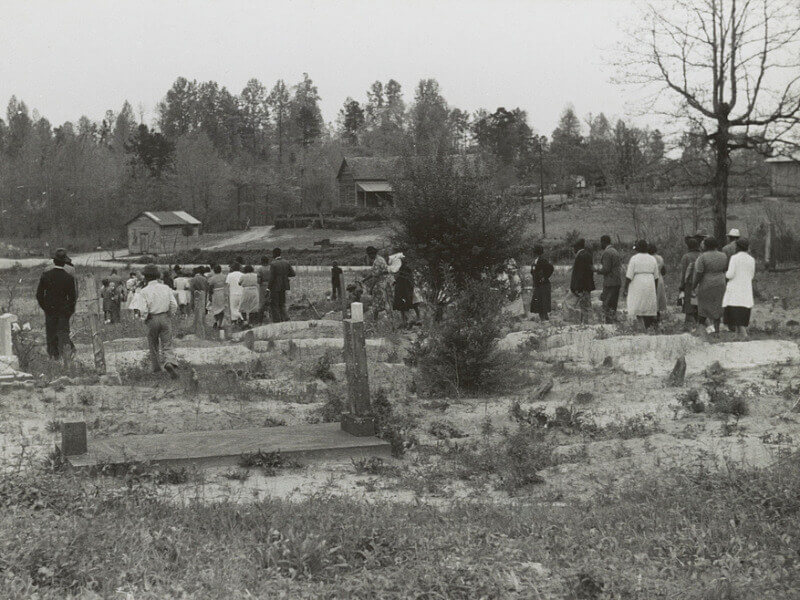 Mourners in a graveyard in Georgia