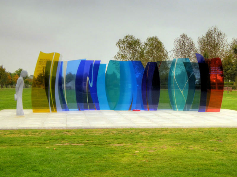 The rainbow glass Naval Services Memorial at The National Memorial Arboretum