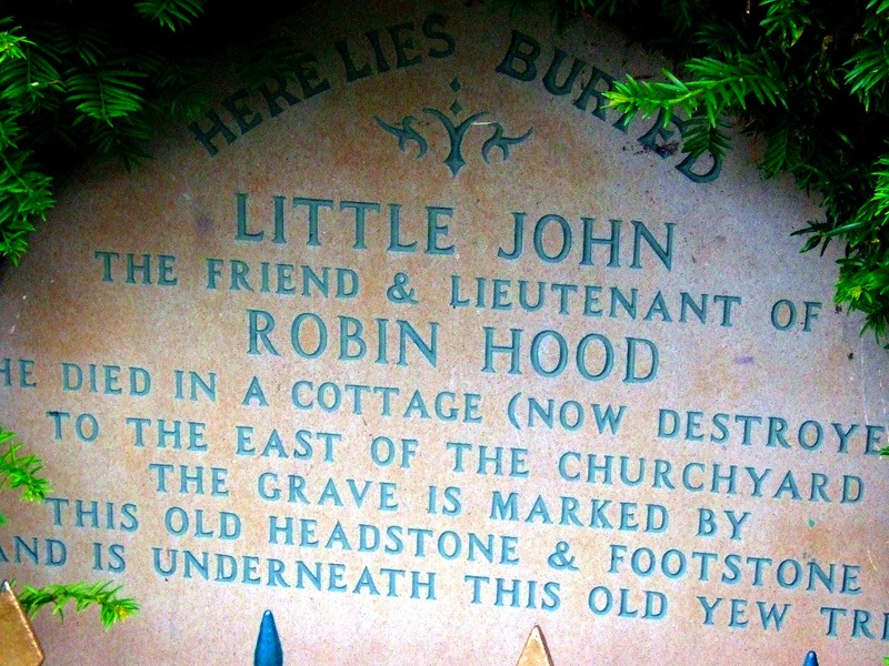 Little John's grave lies under a yew tree